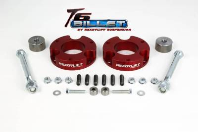 ReadyLift - ReadyLift 2.25in. T6 BILLET ALUMINUM LEVELING KIT ANODIZED, RED IN COLOR T6-5055-R